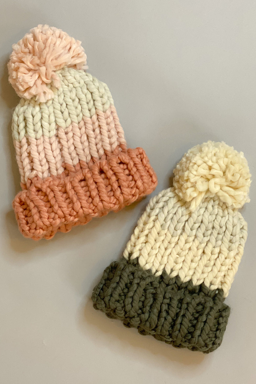 Multi Color Blocked Knit Pom Pom Hat