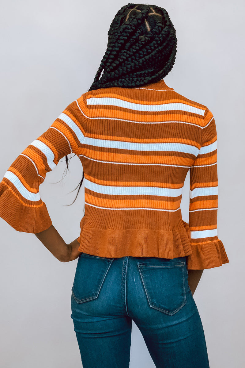 Pumpkin Spice Rust Ruffle Striped Sweater