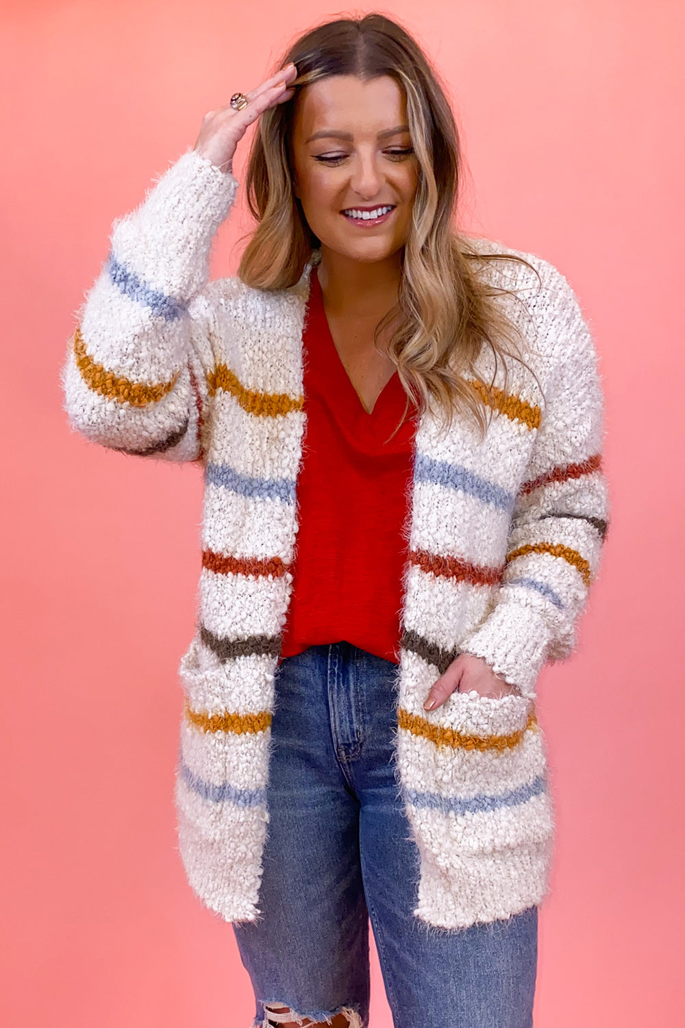 White Rainbow Striped Cardigan