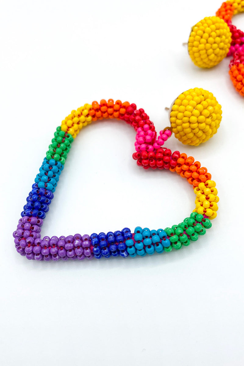 Beaded Rainbow Heart Earrings