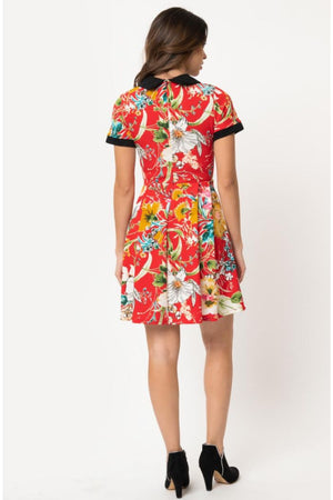 Red Floral Babe Revolution Fit & Flare Dress by Smak Parlour