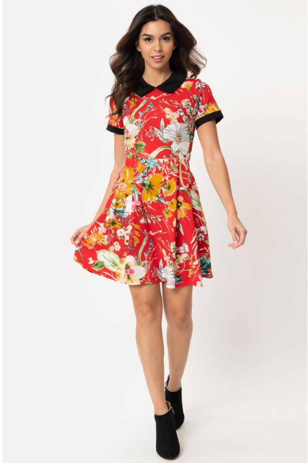 Pre Order: Red Floral Babe Revolution Fit & Flare Dress by Smak Parlour
