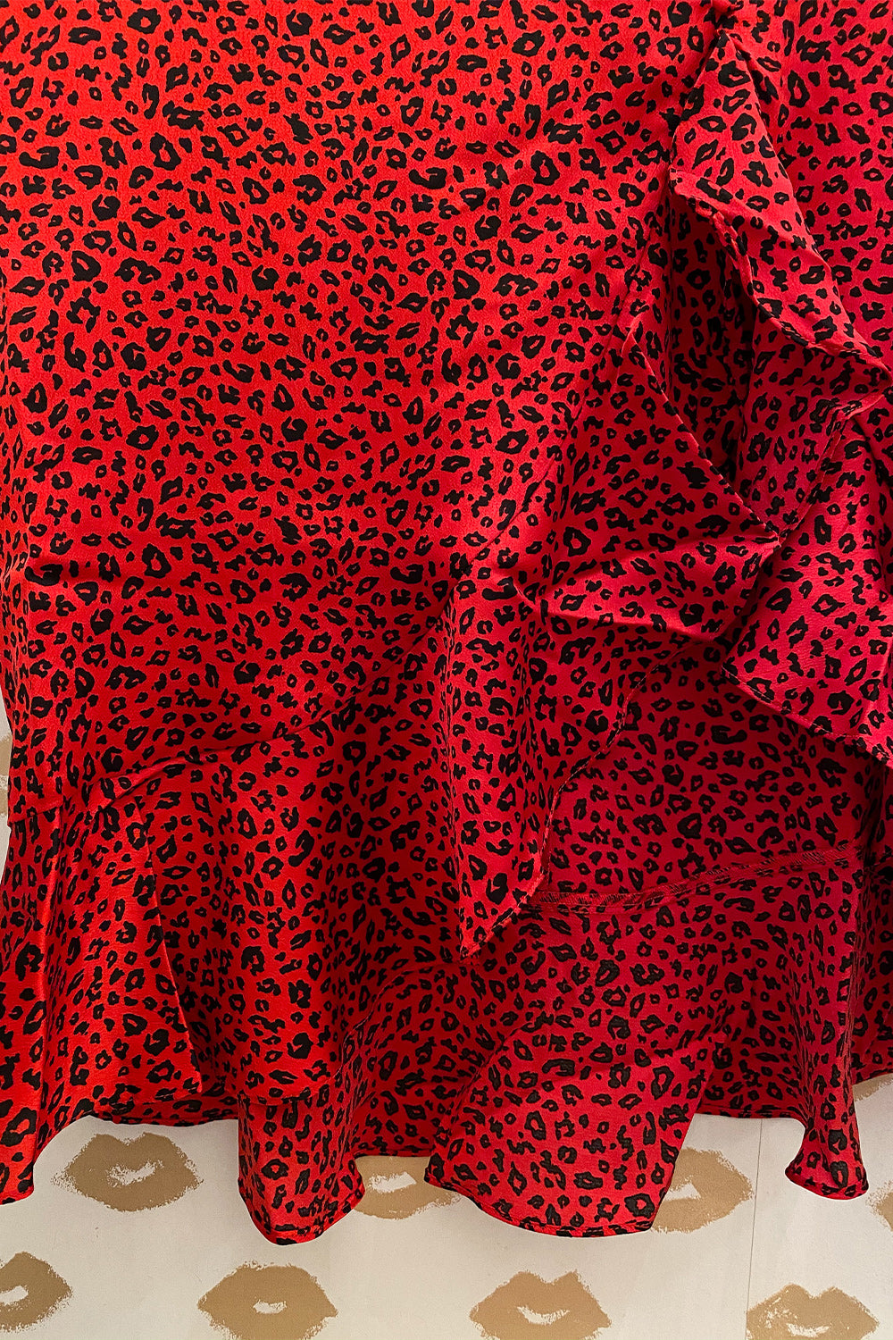 Red Silk Cheetah Print Midi Skirt with Slit