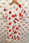 White & Red Floral Print Short Sleeve Faux Wrap Dress