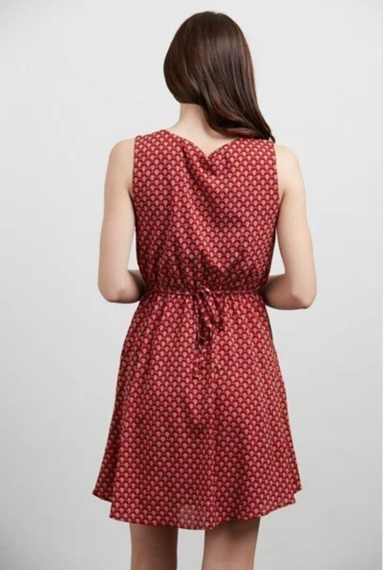 Red Mini Fan Print Sleeveless Dress