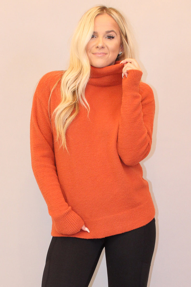 My Soft Spot Rust Turtleneck Sweater