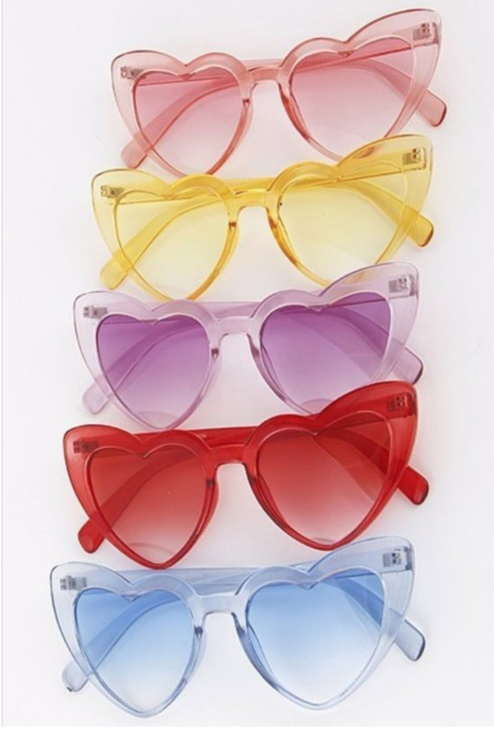 Transluscent Neon Heart Shaped Sunnies