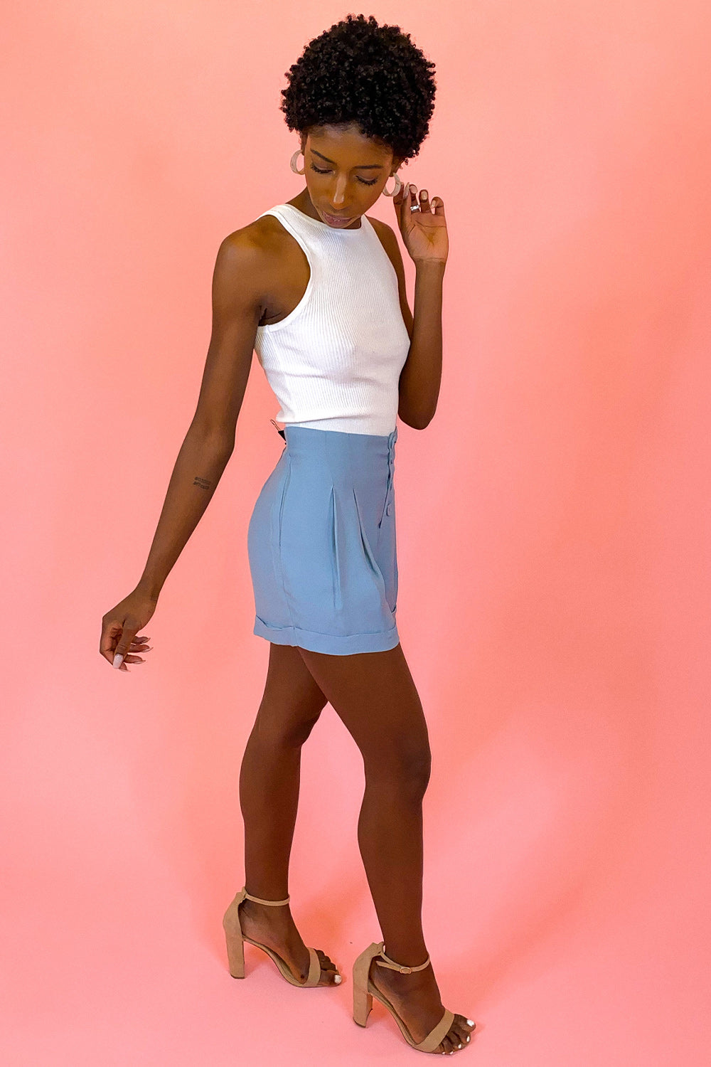 Pale Blue Pleated Cuffed Button Up Shorts