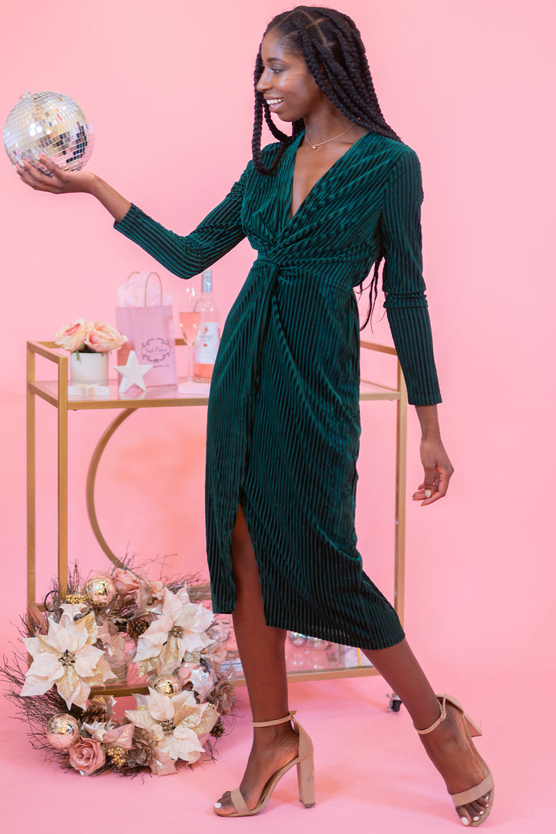Let's Make A Teal Velvet Long Sleeve Twist Midi Dress with Slit