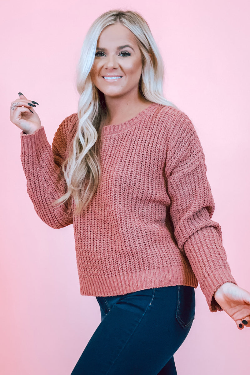 As You Like Knit Mauve Simple Scoop Neck Sweater