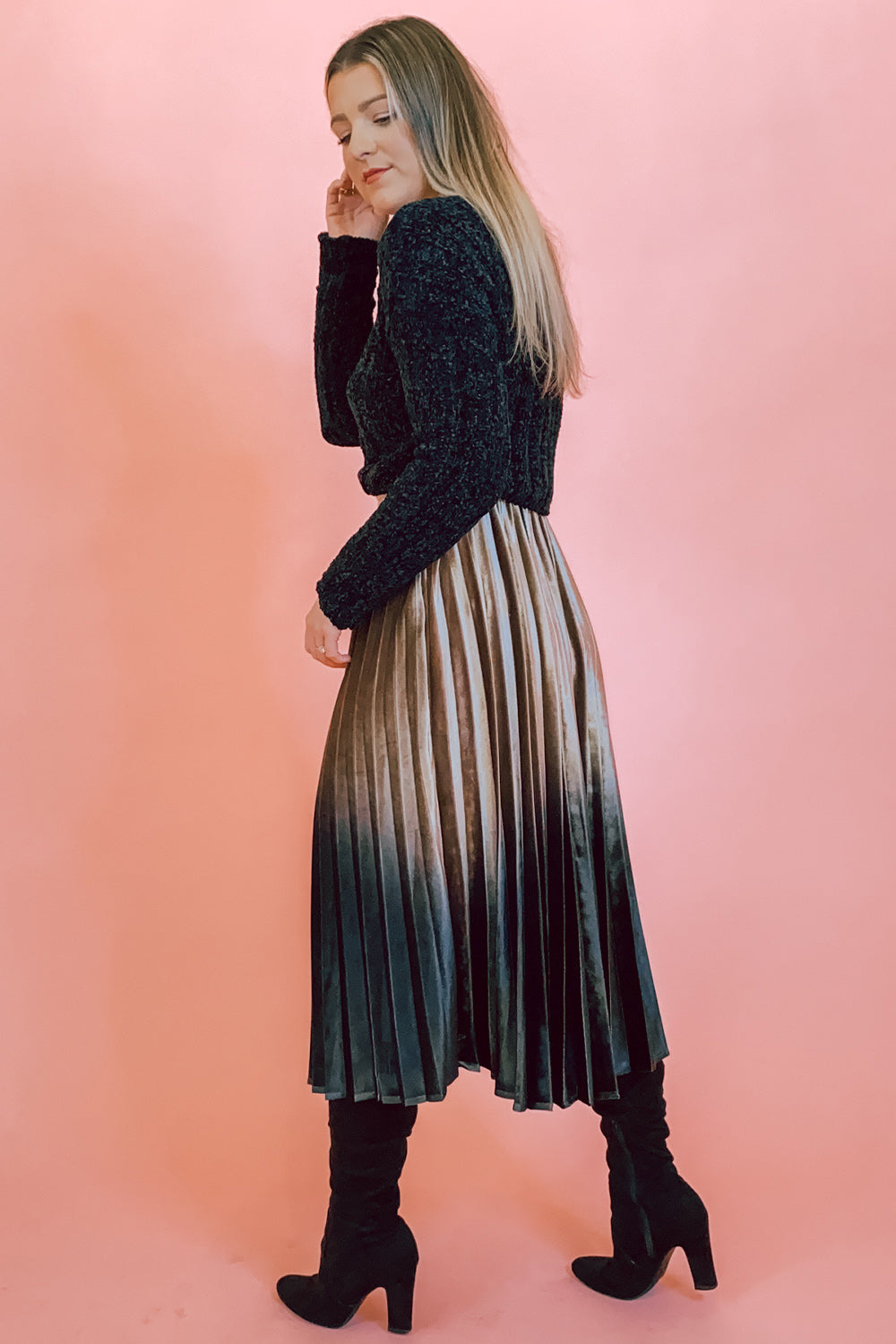 Champagne & Black Velvet Ombre Pleated Midi Skirt