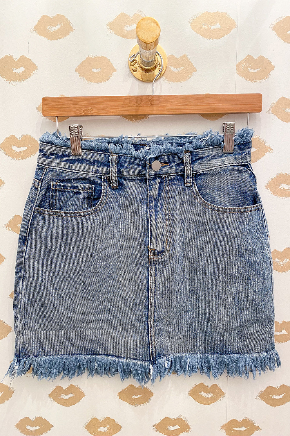 Fray It Louder Light Denim High Waisted Mini Skirt with Frayed Hems