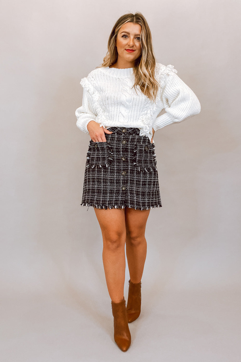 Black Tweed Button Up Mini Skirt with Pockets