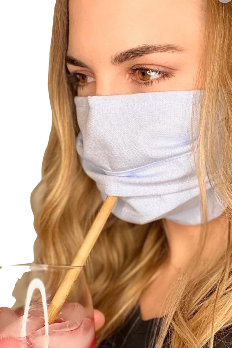 Reusable Face Mask with Self Covering Straw Hole