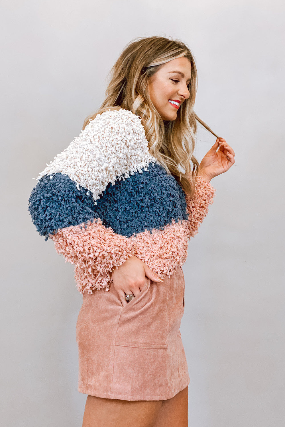 White Blue & Pink Popcorn V Neck Sweater