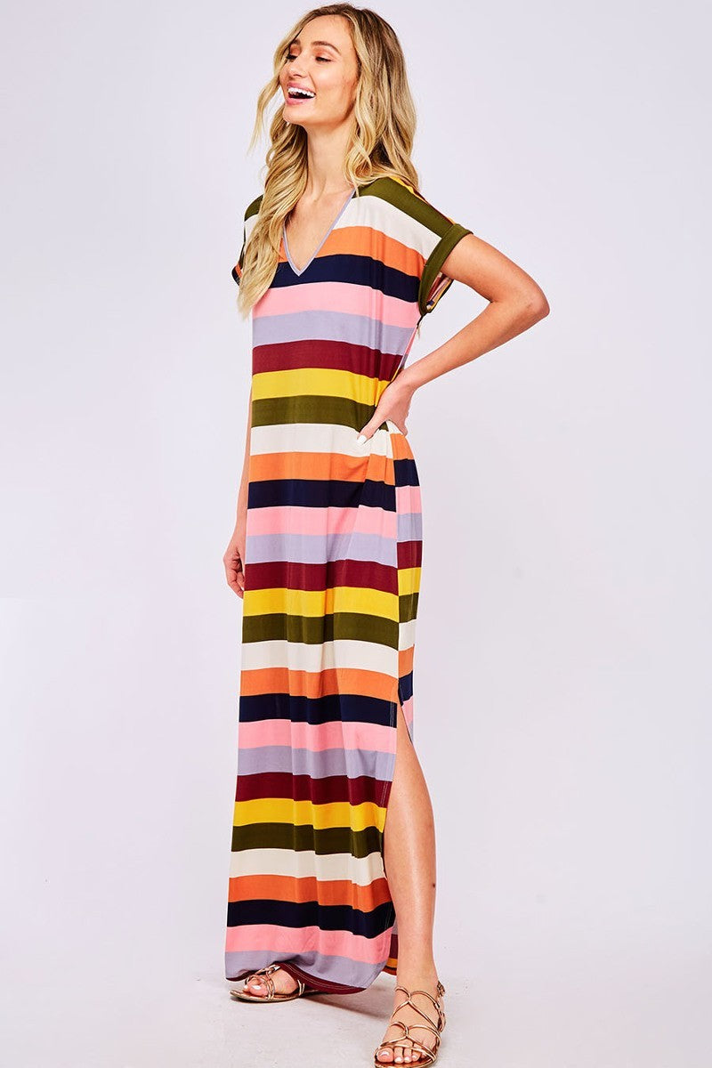 That's My Stripe Multicolored Maxi Dress