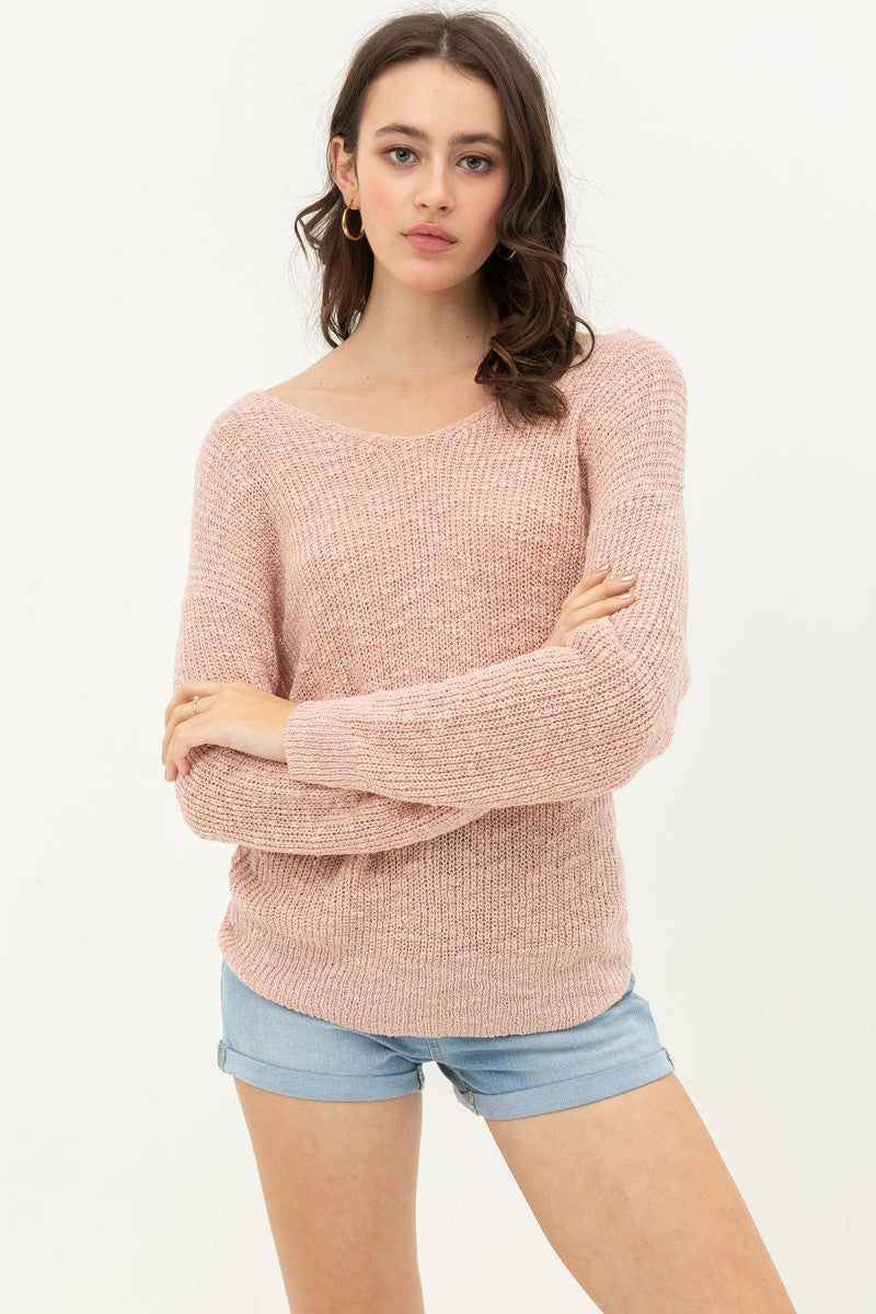 Blush V Neck Sweater with Twisted Back Detail
