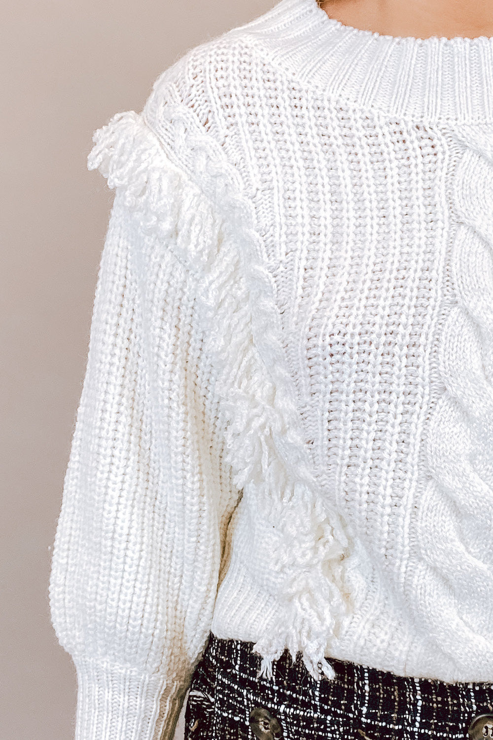 White Cable Knit Sweater with Fringe Detailing