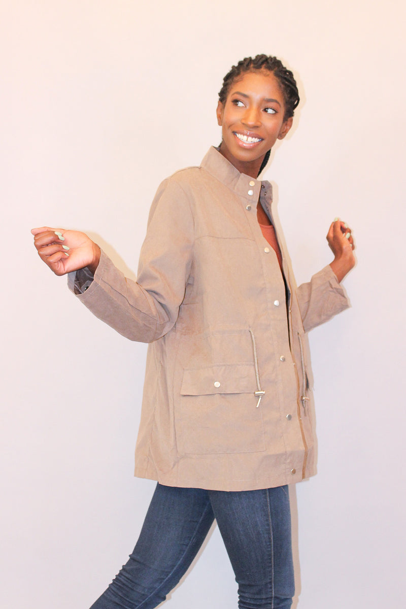 Taupe Lightweight Suede Jacket with Buttons