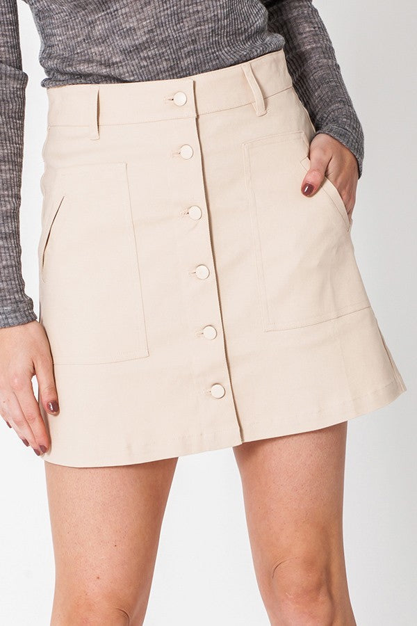 On The Same Beige Button Up Mini Skirt