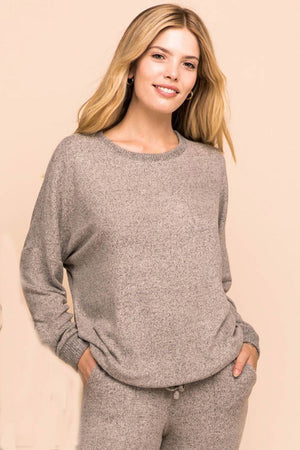 Slow Down Oatmeal Soft Long Sleeve Lounge Sweater