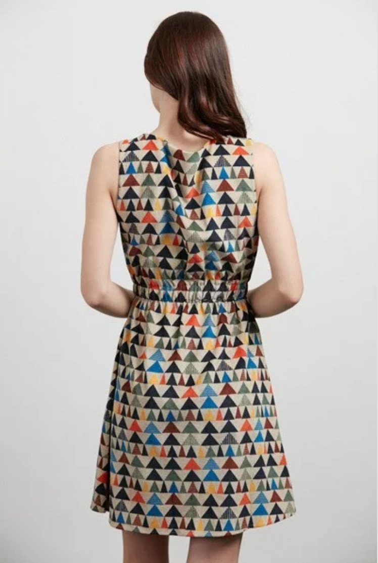 Corduroy Triangle Print Dress