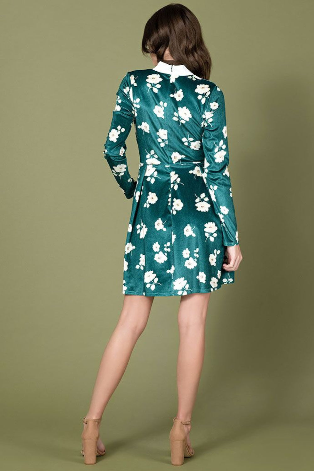 Truth or Flare Velvet Dress Green Ivory Floral by Smak Parlour