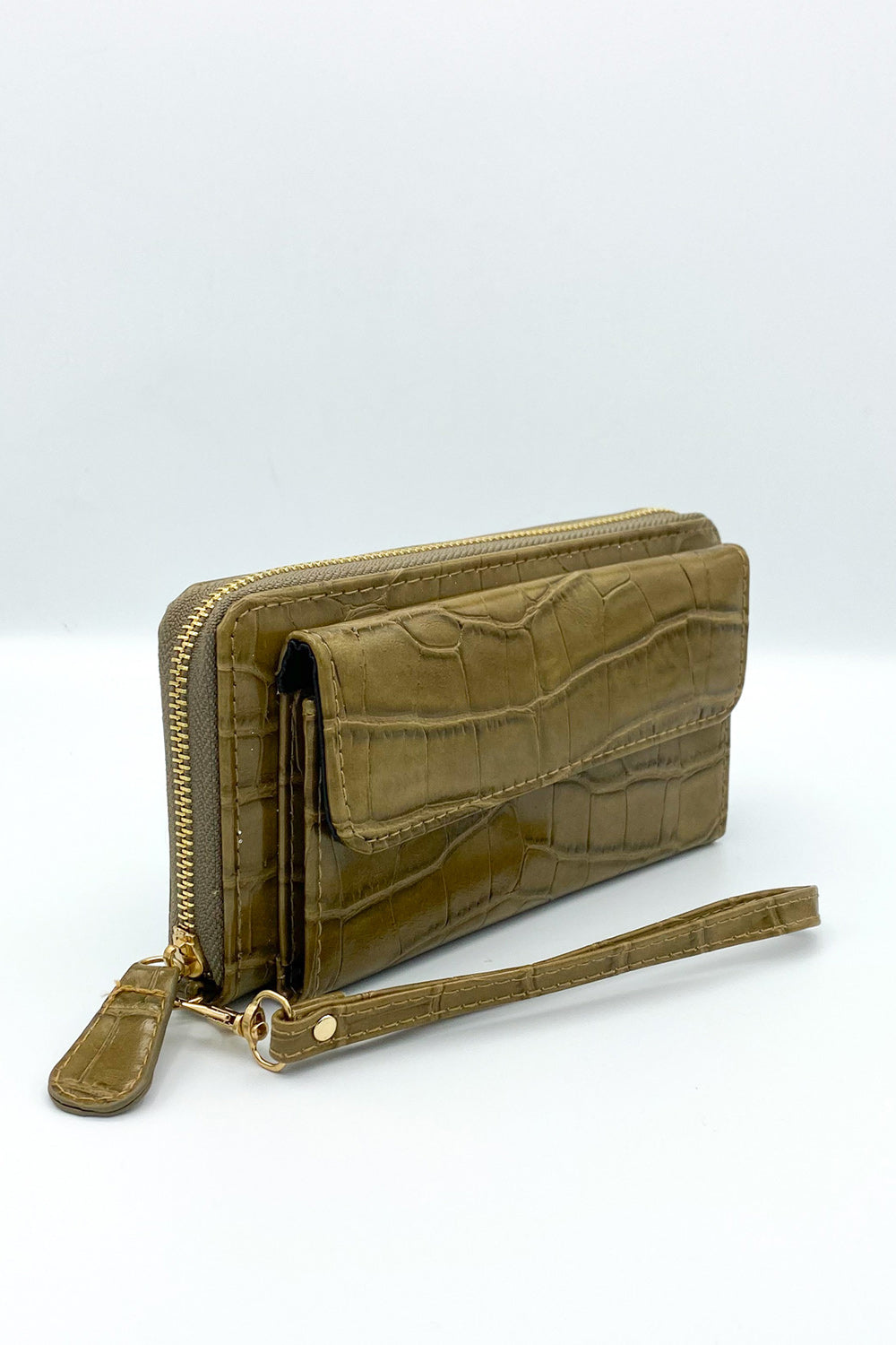 Croc Vegan Leather Wristlet