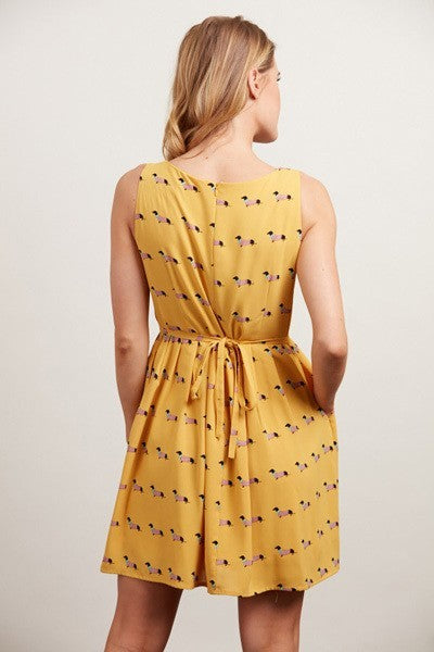 Mustard Yellow Weenie Dog Dress