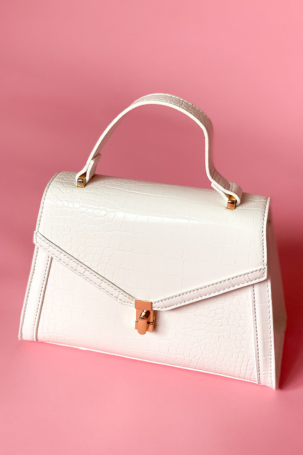 White Crocodile Handbag