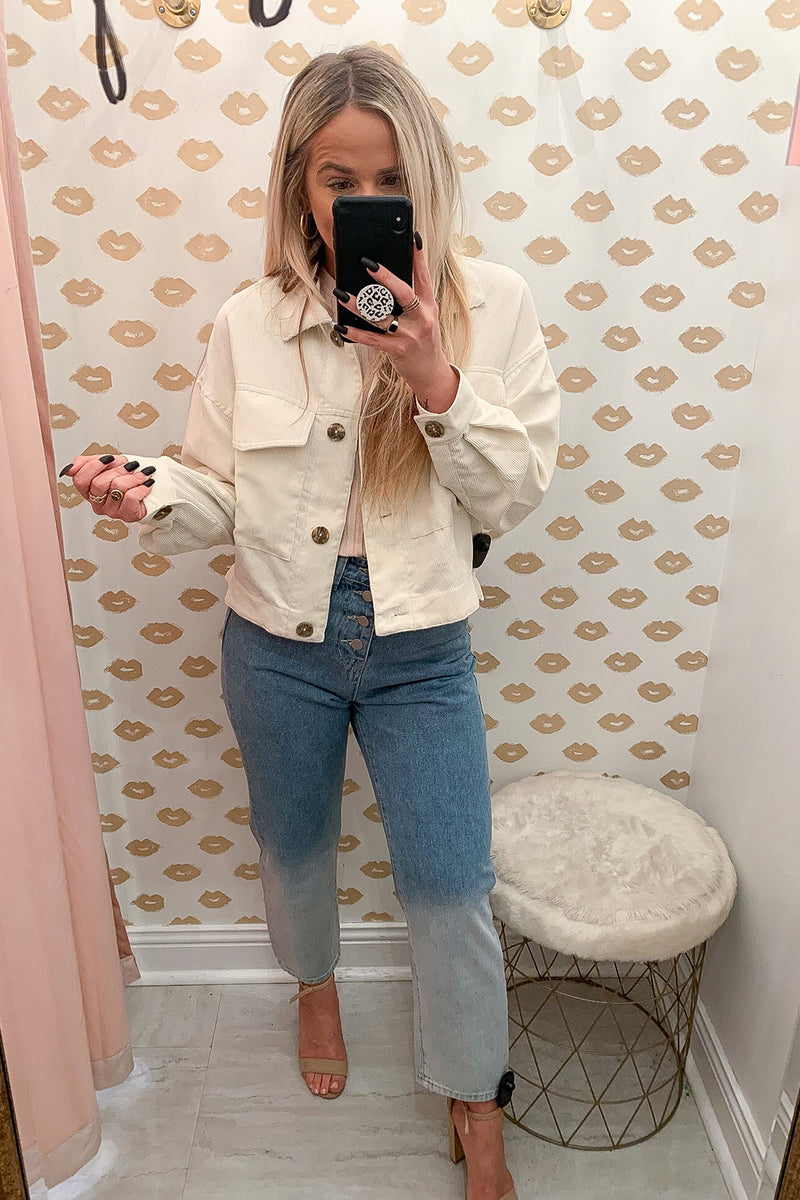 Count Me In Cream Corduroy Button Up Jacket