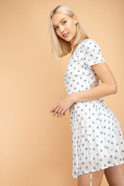 On The Spot White & Blue Polka Dot Wrap Dress