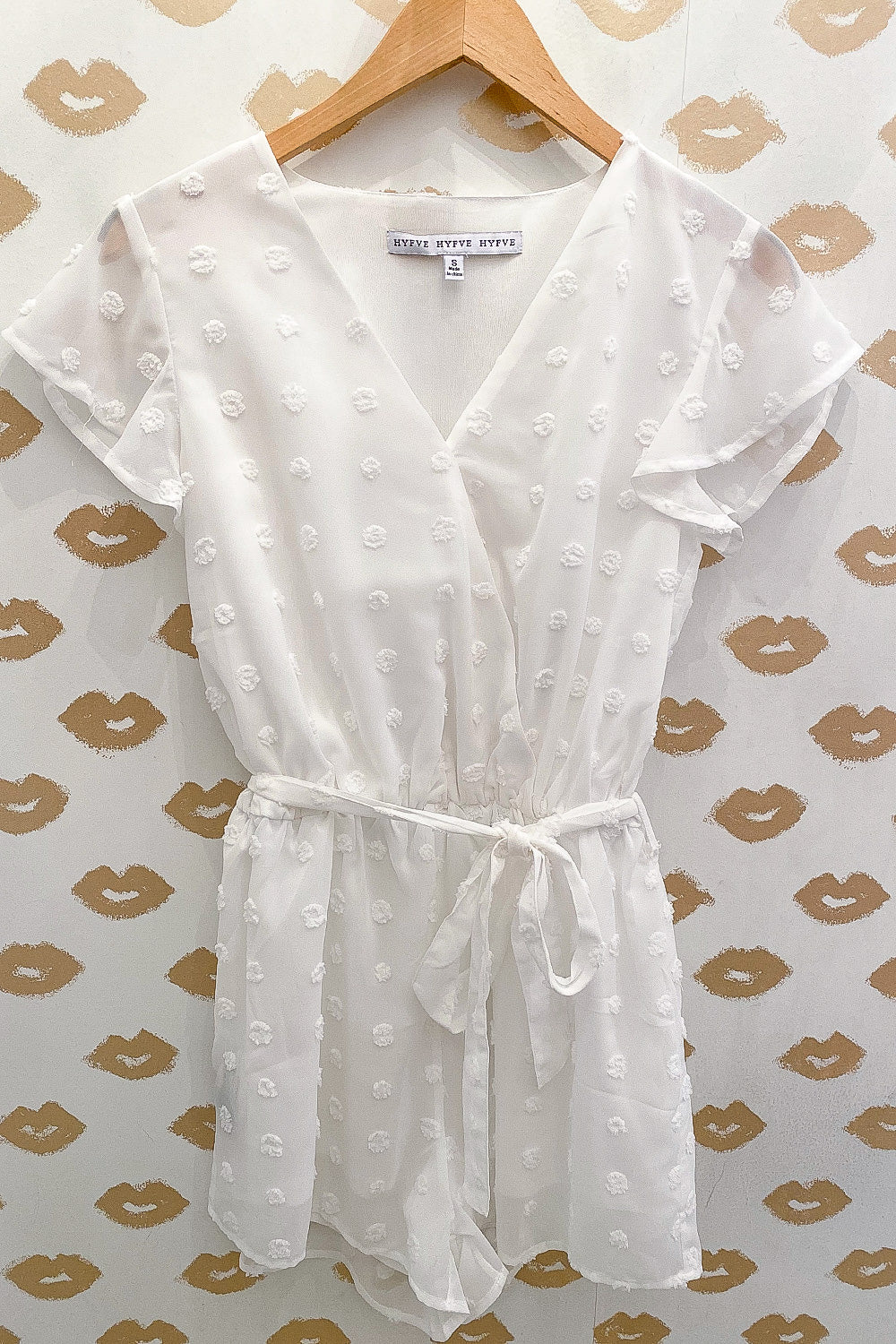 White Textured Flutter Sleeve Romper with Tie Waist