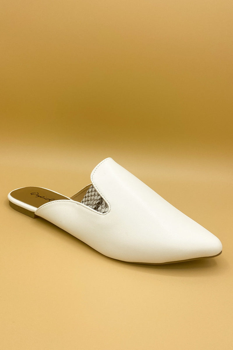 Just A Lil Something White Slip On with Snakeskin Detail