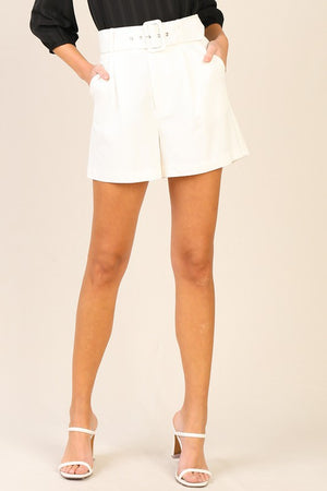 High Wasted White Belted Shorts
