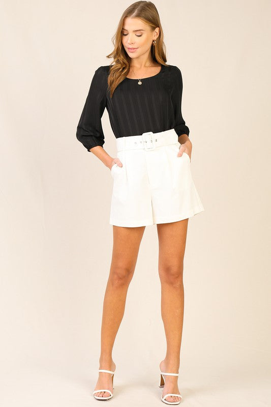 The White Idea Belted Shorts