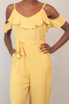 Mellow Yellow Cold Shoulder Belted Jumpsuit