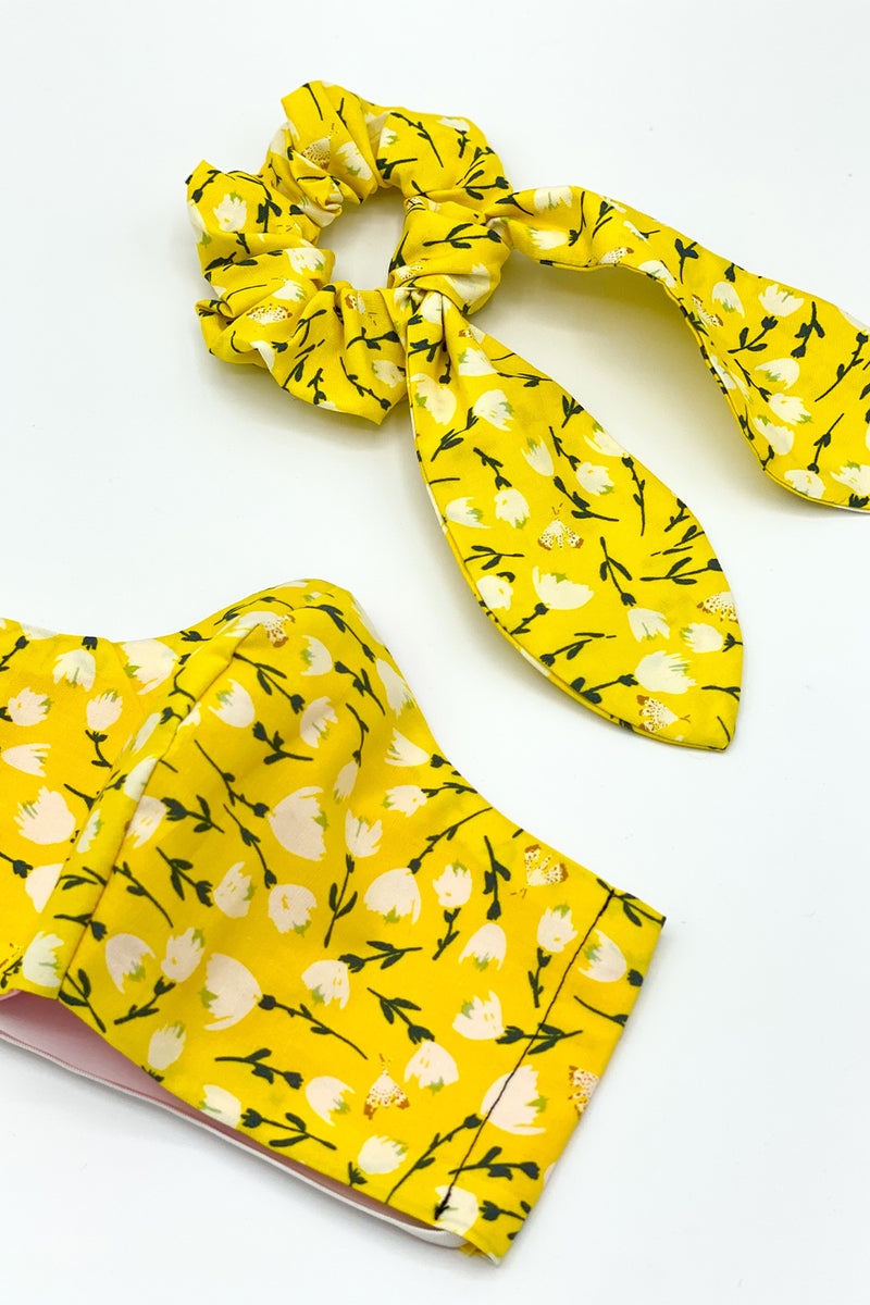 Nothin' Bud Love Yellow Floral Scrunchie