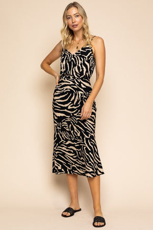 It's Not All Black & White Zebra Print Midi Skirt