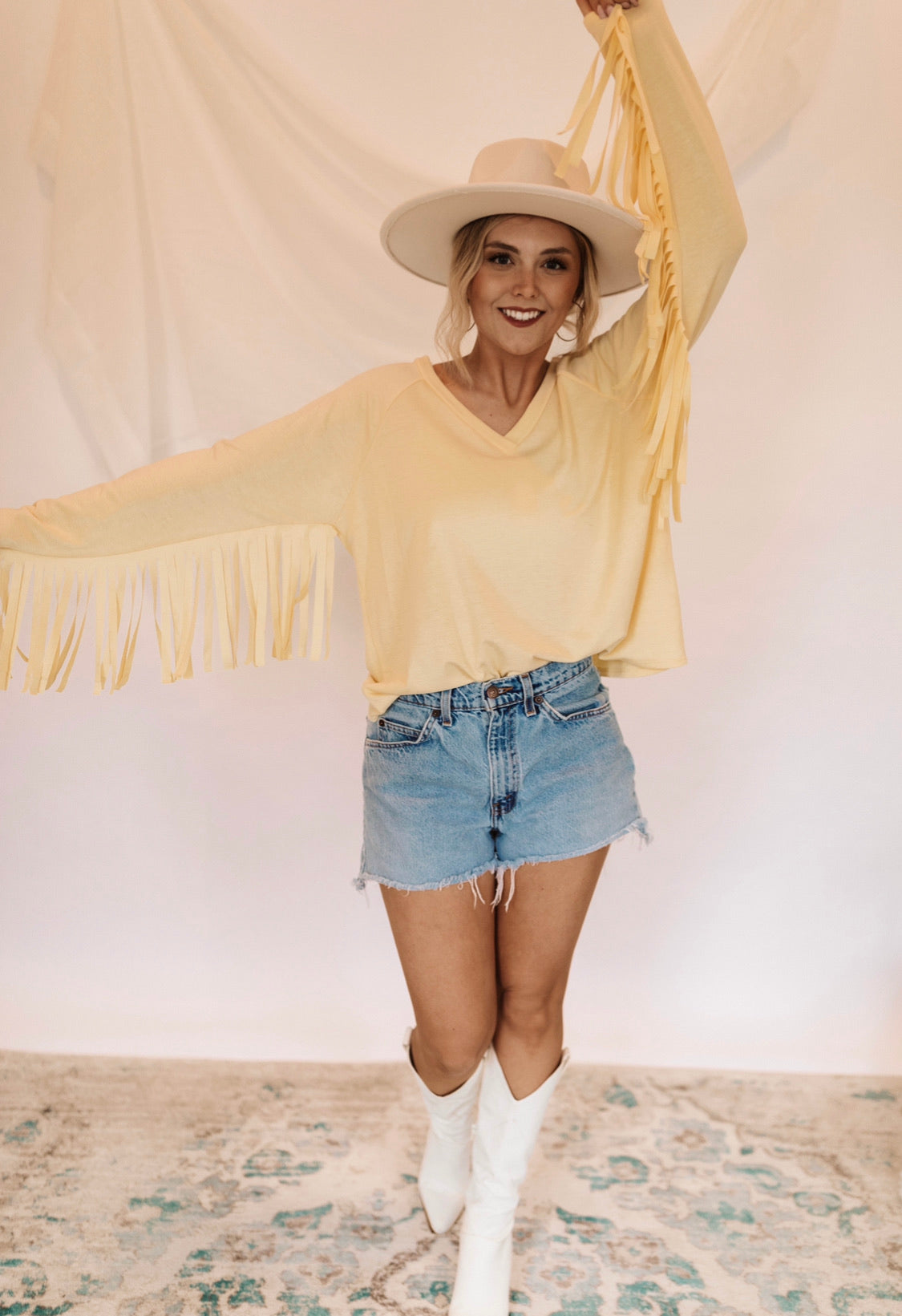 Dolly Fringe Top - Pastel Yellow