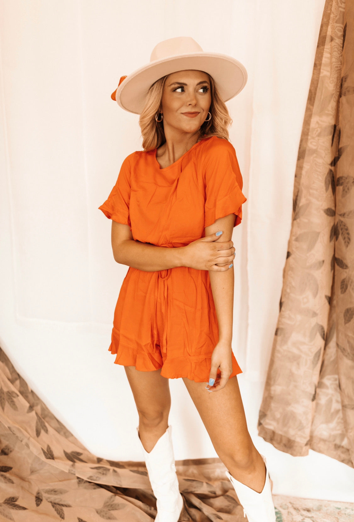 Kelsey Romper - Red/Orange