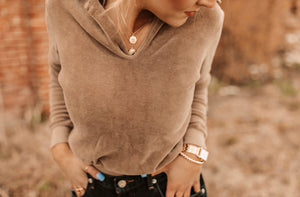 Suede Collared Top