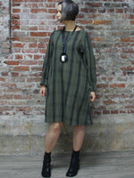 GREEN AND BLACK PLAID DRESS, WORLD OF CROW - Kapade Shop