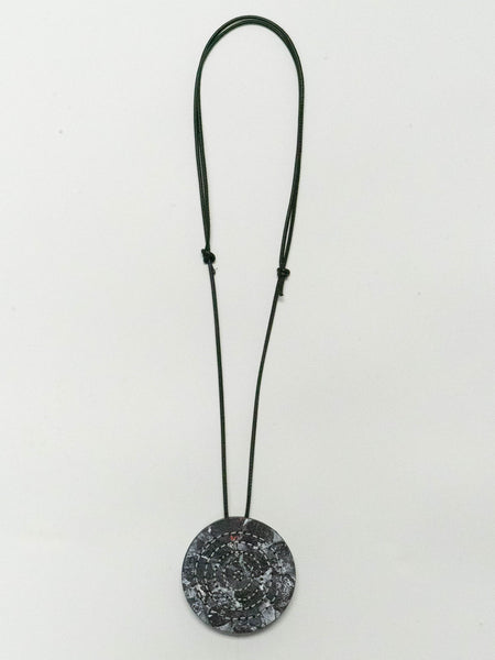 BLACK AND WHITE ROUND, DISTRESSED ART, NECKLACE, DESIGNS BY SONIA