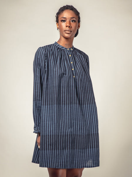 INDIGO STRIPES SHORT DRESS, MAKU - Kapade Shop