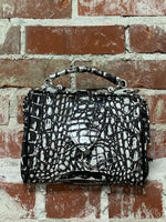 BLACK AND WHITE LEATHER HANDBAG, MUTSAERS - Kapade Shop
