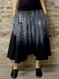 BLACK AND WHITE HAND-PAINTED, BRUSH STROKES CULOTTES IN RAMIE, Nrk - Kapade Shop