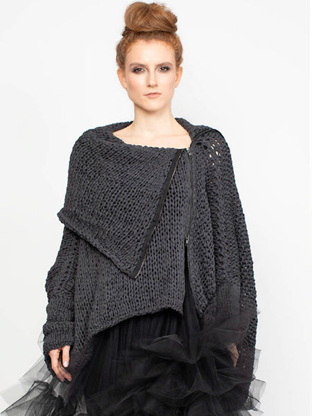 BLACK CAPE, HAND KNITTED, Nrk