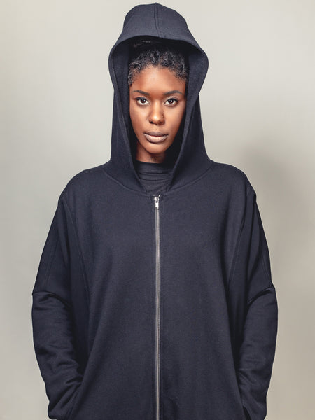 BLACK COAT WITH HOOD, Nrk - Kapade Shop