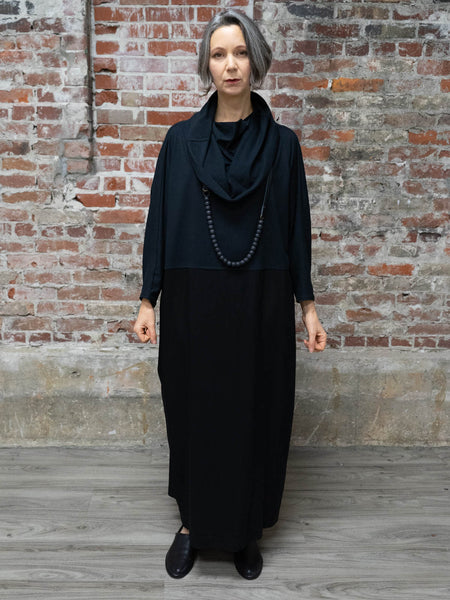 BLACK LONG DRESS, COWL NECK, Nrk